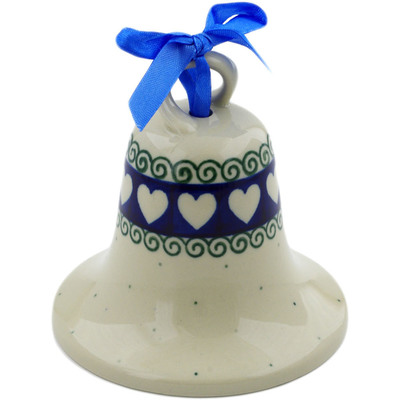 "Polish Pottery Bell Ornament 4"" Light Hearted"