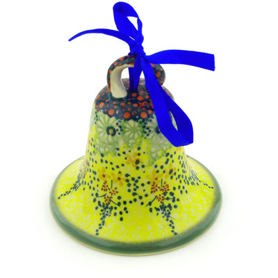 "Polish Pottery Bell Ornament 4"" Sunshine Grotto UNIKAT"