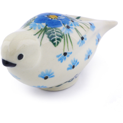 "Polish Pottery Bird Figurine 4"" Forget Me Not"