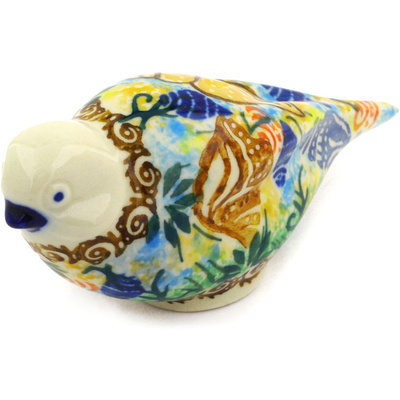 "Polish Pottery Bird Figurine 4"" Ocean Whisper UNIKAT"