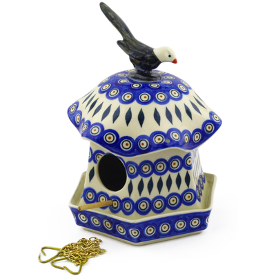 "Polish Pottery Birdhouse 10"" Peacock"