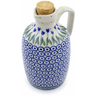Polish Pottery Bottle 18 oz Blue Tulip Circle