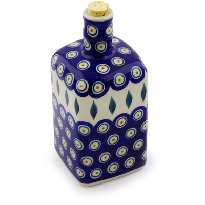 Polish Pottery Bottle 18 oz Peacock