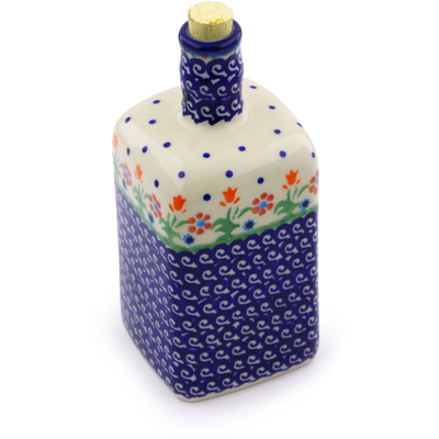 Polish Pottery Bottle 18 oz Spring Flowers