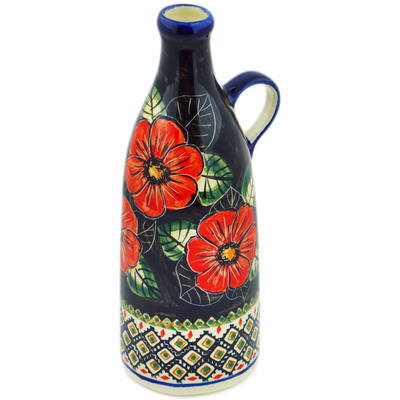 Polish Pottery Bottle 24 oz Poppy Passion UNIKAT