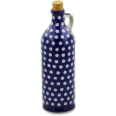 Polish Pottery Bottle 27 oz Blue Eyed Peacock