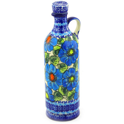 Polish Pottery Bottle 27 oz Bold Blue Poppies UNIKAT