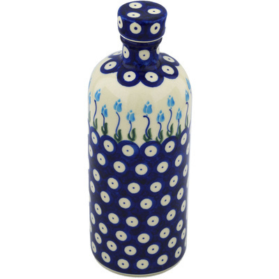 Polish Pottery Bottle 27 oz Peacock Tulip Garden