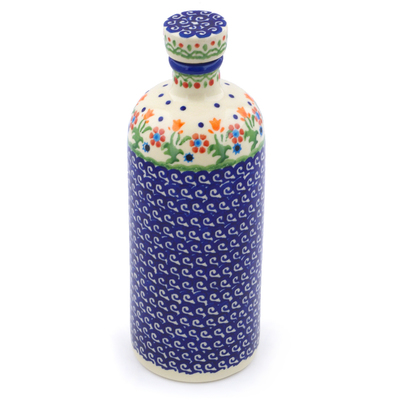 Polish Pottery Bottle 27 oz Spring Flowers