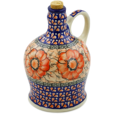 Polish Pottery Bottle 29 oz Fire Poppies UNIKAT