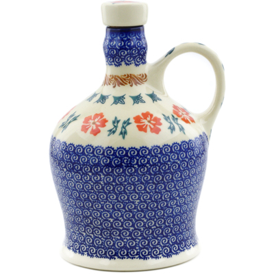 Polish Pottery Bottle 29 oz Red Cornflower