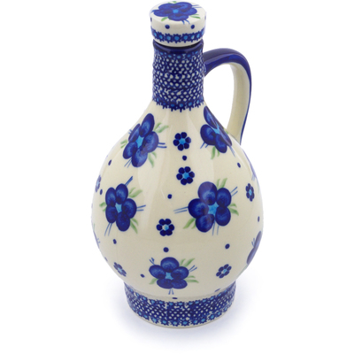 Polish Pottery Bottle 34 oz Bleu-belle Fleur