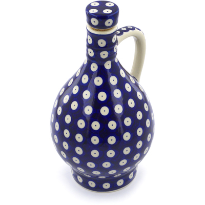 Polish Pottery Bottle 34 oz Blue Eyed Peacock