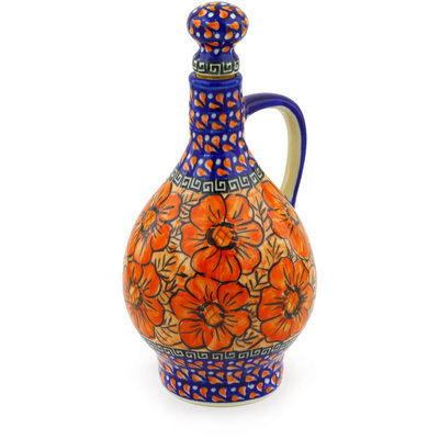 Polish Pottery Bottle 34 oz Fire Poppies UNIKAT
