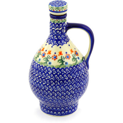 Polish Pottery Bottle 34 oz Spring Flowers
