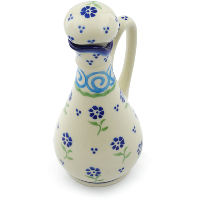 Polish Pottery Bottle 5 oz Blue Bursts