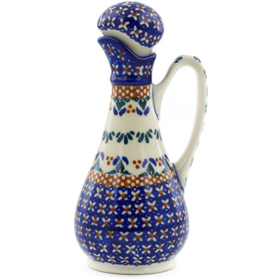 Polish Pottery Bottle 5 oz Blue Cress UNIKAT