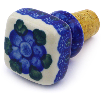"Polish Pottery Bottle Stopper 2"" Blue Poppies"