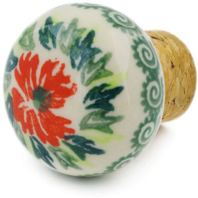 "Polish Pottery Bottle Stopper 2"" Ring Of Flowers UNIKAT"