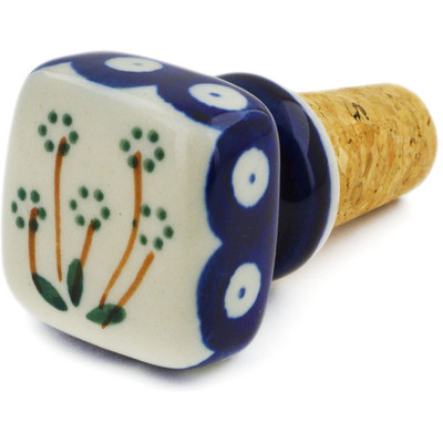 "Polish Pottery Bottle Stopper 2"" Springing Daisies"
