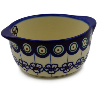 Polish Pottery Bouillon Cup 11 oz Flowering Peacock