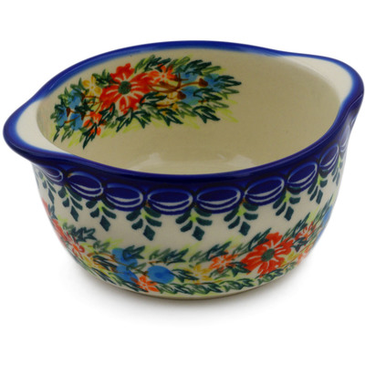 Polish Pottery Bouillon Cup 11 oz Ring Of Flowers UNIKAT