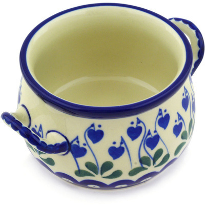 Polish Pottery Bouillon Cup 12 oz Bleeding Heart Peacock