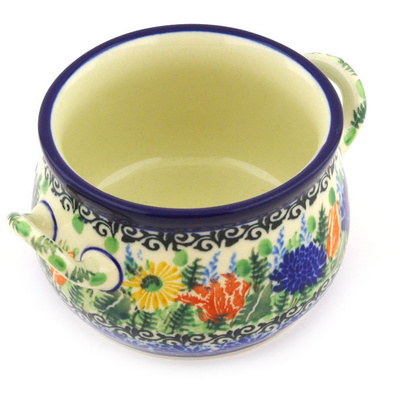 Polish Pottery Bouillon Cup 12 oz Splendid Blue Bell UNIKAT