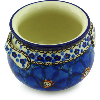 Polish Pottery Bouillon Cup 13 oz Cobalt Poppies UNIKAT