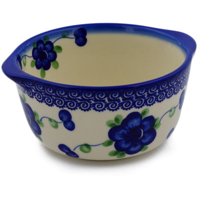 Polish Pottery Bouillon Cup 15 oz Blue Poppies