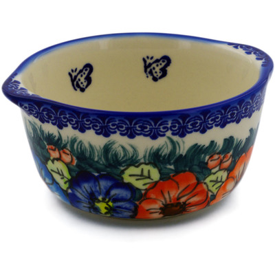 Polish Pottery Bouillon Cup 15 oz Butterfly Splendor UNIKAT
