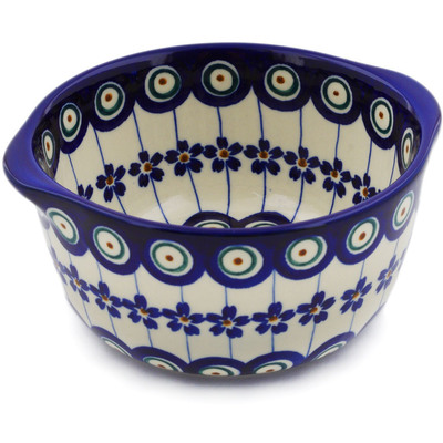 Polish Pottery Bouillon Cup 15 oz Floral Peacock