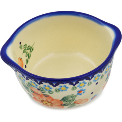 Polish Pottery Bouillon Cup 15 oz Peach Tudor Rose