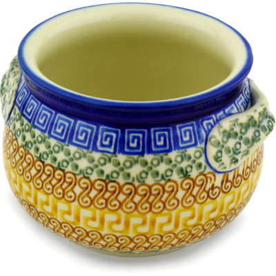 Polish Pottery Bouillon Cup 25 oz Grecian Sea