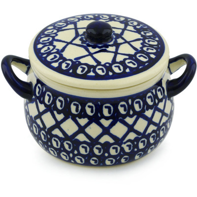 Polish Pottery Bouillon Cup with Lid 13 oz Lattice Peacock