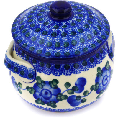 Polish Pottery Bouillon Cup with Lid 15 oz Blue Poppies