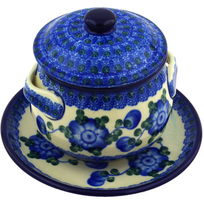 Polish Pottery Bouillon Cup with Lid and Saucer 13 oz Blue Poppies