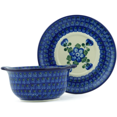 Polish Pottery Bouillon Cup with Saucer 13 oz Blue Poppies
