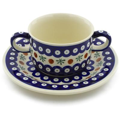 Polish Pottery Bouillon Cup with Saucer 13 oz Mosquito