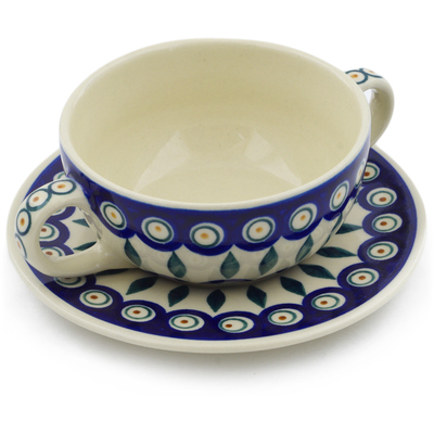 Polish Pottery Bouillon Cup with Saucer 13 oz Peacock