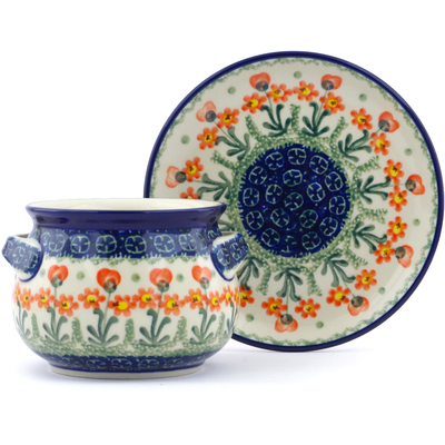 Polish Pottery Bouillon Cup with Saucer 16 oz Peach Spring Daisy
