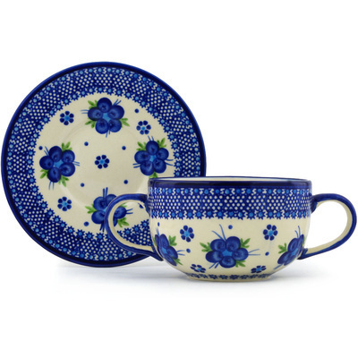 Polish Pottery Bouillon Cup with Saucer 19 oz Bleu-belle Fleur