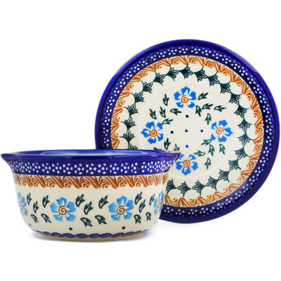 Polish Pottery Bouillon cup with saucer Blue Cornflower