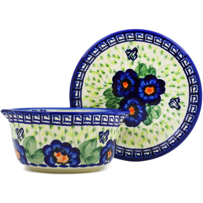 Polish Pottery Bouillon cup with saucer Brilliant Butterfly Popp UNIKAT