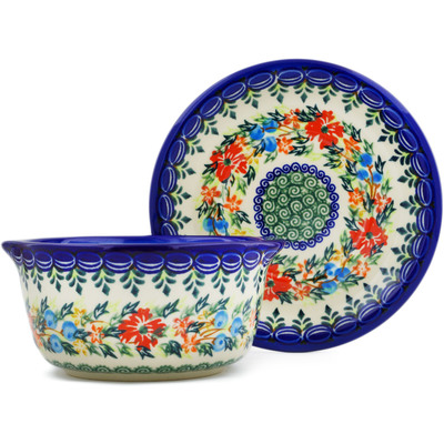 Polish Pottery Bouillon cup with saucer Ring Of Flowers UNIKAT