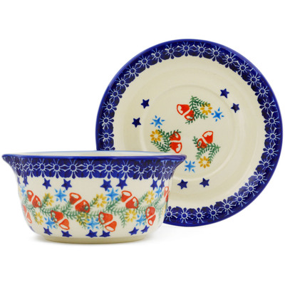 Polish Pottery Bouillon cup with saucer Wreath Of Bealls