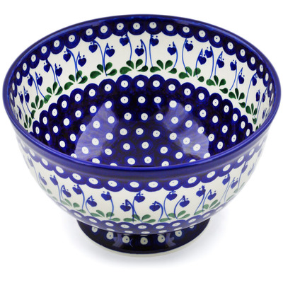 "Polish Pottery Bowl 10"" Bleeding Heart Peacock"