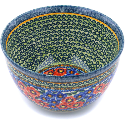 "Polish Pottery Bowl 10"" Blue And Red Poppies UNIKAT"