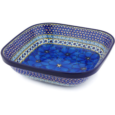 "Polish Pottery Bowl 10"" Cobalt Poppies UNIKAT"