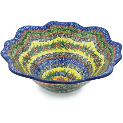 "Polish Pottery Bowl 10"" Copper Rose Meadow UNIKAT"
